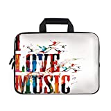 Lifestyle Laptop Carrying Bag Sleeve,Neoprene Sleeve Case/I Love Music Phrase in Grunge Effects and Birds Flying Soul Freedom Illustration/for Apple Macbook Air Samsung Google Acer HP DELL Lenovo Asus