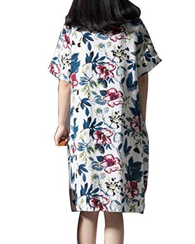 Manga Corta Vestidos Vestido Túnica De Vestido Blanco Mujer Fiesta Floral De Estampado qwI4XUI