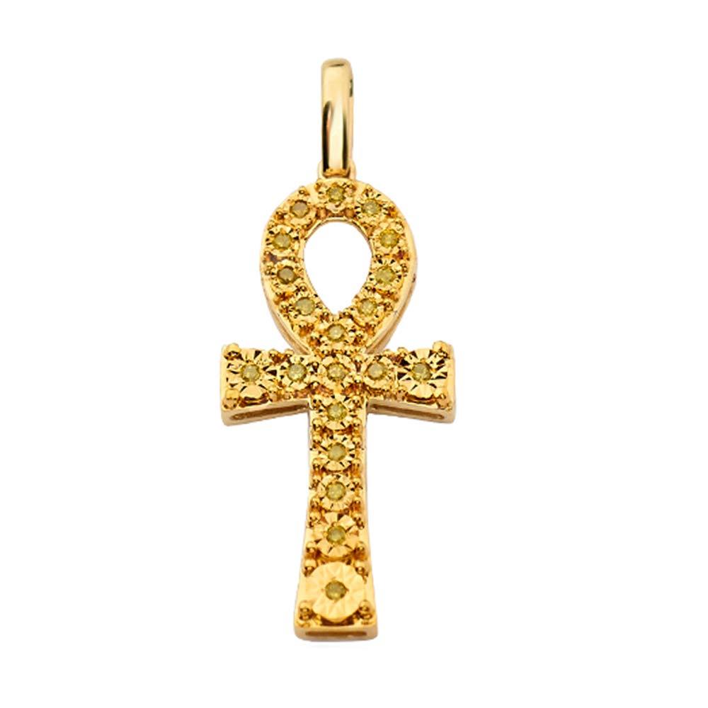 0.20 Ct Round Cut VS-SI Yellow Natural Diamond Ankh Cross Pendant 10k Yellow Gold