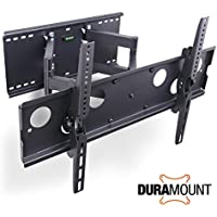 Duramount Articulating TV Wall Mount - Swivel Full Motion Tilt Bracket Dual-Arm Heavy-Duty for 32 Inch to 60 Inch LED, LCD, Plasma, Flat Screen Monitors - Built-In Bubble Level - 9 Foot HDMI Cable