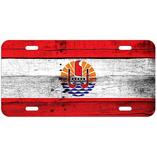 (Flag of French Polynesia (Polynesian) - Wood Custom Novelty License Plates Cover Decorative Front Car Tag Plate for US Vehicles 12 x 6 Inch)