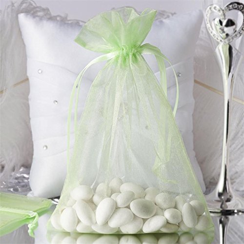 (Efavormart 50PCS Mint Organza Gift Bag Drawstring Pouch Wedding Favors Bridal Shower Treat Jewelry Bags - 6