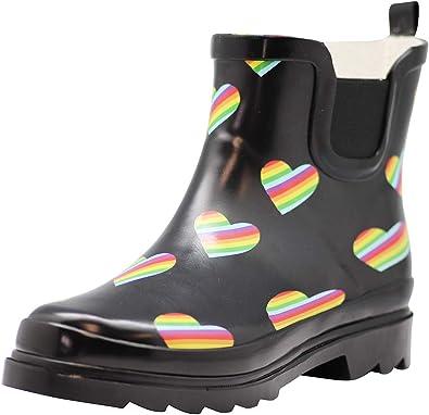 NORTY - Botas de Lluvia para Mujer, Impermeables, para Invierno, Primavera, jardín, Negro (Rainbow Heart Pride), 39 EU: Amazon.es: Zapatos y complementos