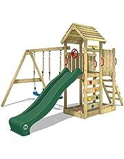 WICKEY Parque infantil de madera MultiFlyer con columpio y tobogán verde, Torre de escalada de exterior con techo, arenero y escalera para niños