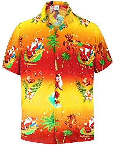 LA LEELA Mens Casual Button Down Short Sleeve Christmas Santa Beachwear Hawaiian Shirt Orange Blue