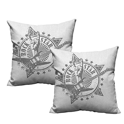 (RuppertTextile Polyester Pillowcase Guitar Stars with Rock Sign Monochrome Musical Instrument Design Rockstar Life Singing Soft and Durable W14 xL14 2 pcs)