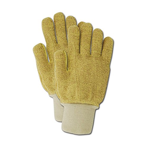Magid Glove & Safety 1691T Magid Cut Master Heavyweight Cotton/Para-aramid Blended Terrycloth Gloves with Thumb Crotch, 6, Yellow, Small (Pack of (Heavyweight Terry Gloves)