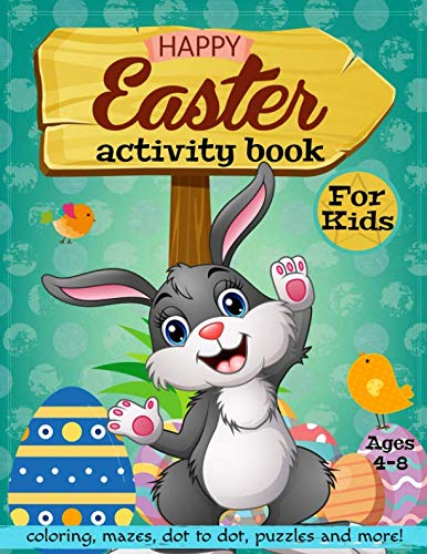 Happy Easter Activity Book for Kids Ages 4-8: Coloring, Mazes, Dot to Dot, Puzzles and More!]()