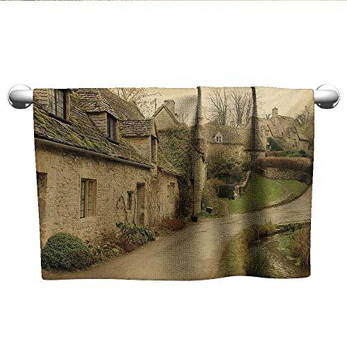 alisoso European,Tea Towel British Town with Stone Houses Retro England Countryside Buildings Image Print Bathroom Hand Towels Grey Green W 10