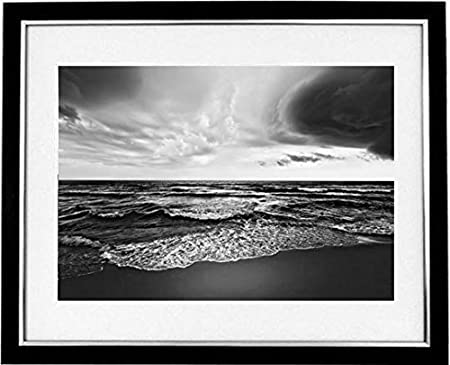 Sunset beach framed black white print of a view of the south