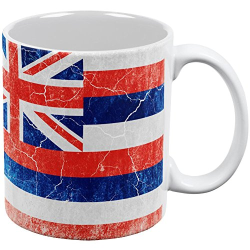 Mug Hawaii White (Old Glory Hawaii Vintage Distressed State Flag All Over Coffee Mug White Standard One Size)