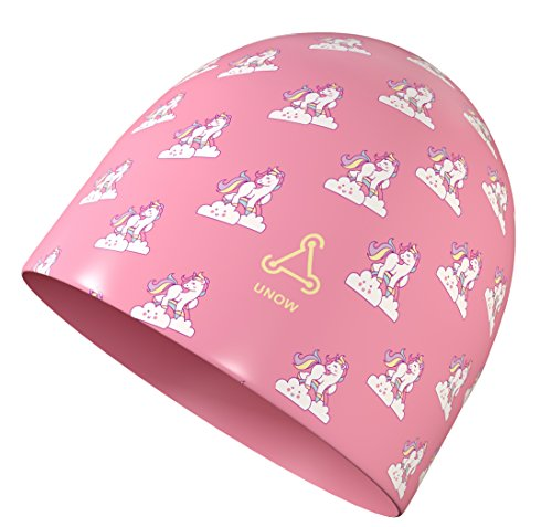 FUNOWN Kids Swim Caps for Kids, Children, Boys and Girls Aged 2-8, Baby Waterproof Bathing Caps for Long and Short Hair (Unicorn, Pink)