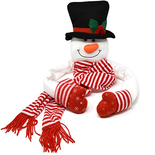 Gift Boutique Christmas Tree Topper Snowman Hugger with Hat Shawl and Poseable Arms Holiday Decorations Winter Wonderland Decoration Xmas Party Supplies