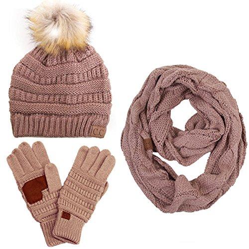 - ScarvesMe CC 3pc Set Trendy Warm Chunky Soft Stretch Cable Knit Pom Pom Beanie, Scarves Gloves Set