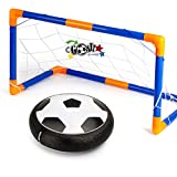 Hover Ball Soccer Goal Set, Indoor & Outdoor Sports Game Play Hover Football Gate Foam Bumpers Colorful LED Lights Up Air Power Training Ball Soccer Disk With 2 Portable Goals for Kids Toys Gifts (Large)