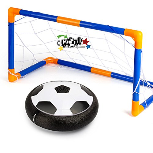 Hover Ball Soccer Goal Set, Indoor & Outdoor Sports Game Play Hover Football Gate Foam Bumpers Colorful LED Lights Up Air Power Training Ball Soccer Disk With Portable Goal for Kids Toys Gifts
