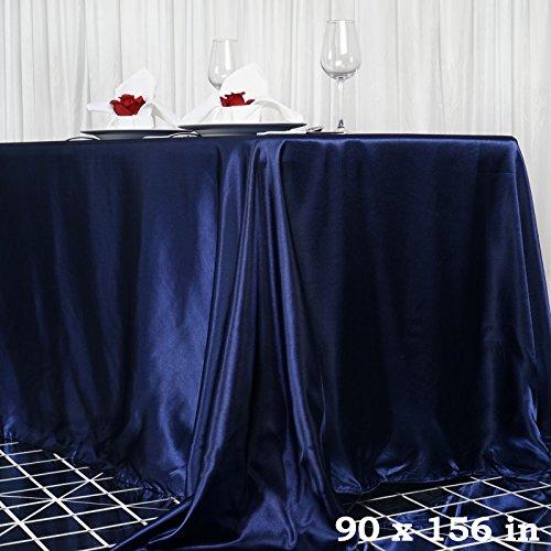 Efavormart 90x156 Rectangle Navy Blue Wholesale Satin Tablecloth Banquet Linen Wedding Party Restaurant Tablecloth