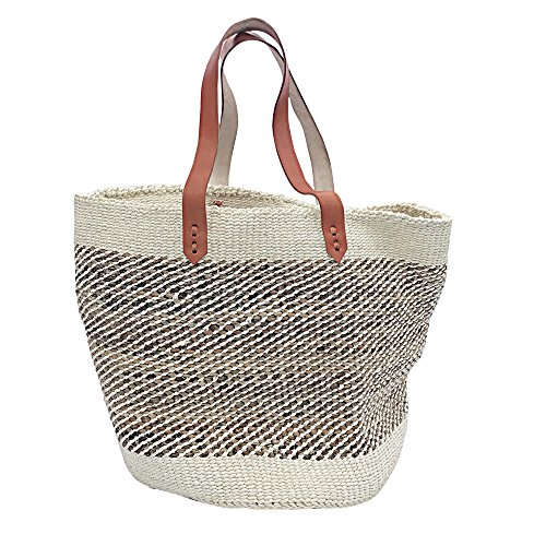 Kiondo Basket Bag - Natural & Banana Stem | Long Strap Medium - 14'' by Kasandy Home