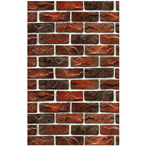 (HaokHome 29903 Distressed Faux Brick Wallpaper Red/Taupe for Home Kitchen Decor 20.8