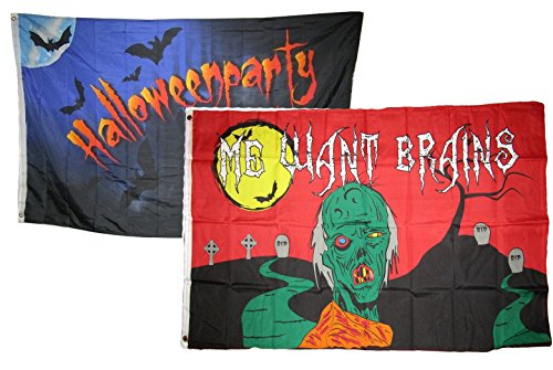 ALBATROS 3 ft x 5 ft Happy Halloween 2 Pack Flag Set Combo #14 Banner Grommets for Home and Parades, Official Party, All Weather Indoors Outdoors