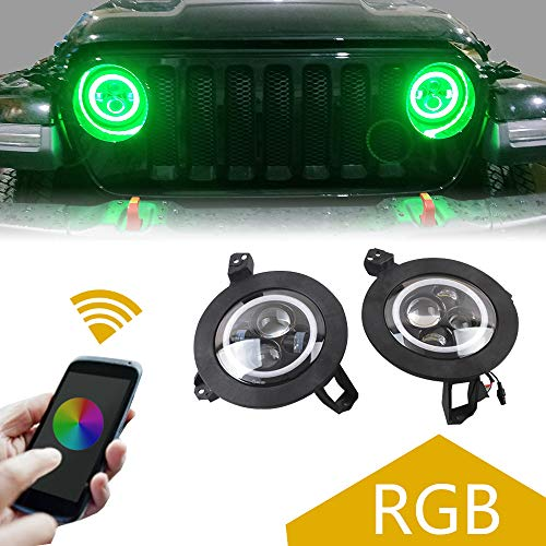 (ZGAUTO LED RGB Color Halo Ring Headlights Bluetooth Controlled with Music Mode Turn Signal & Braking Function with Mounting Bracket for Jeep Wrangler 2018 JL (1 Pair))