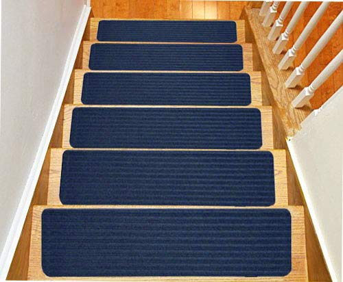 Stair Treads Collection Indoor Skid Slip Resistant Carpet Stair Tread Treads (8 inch x 30 inch) (Royal Blue, Set of 13)