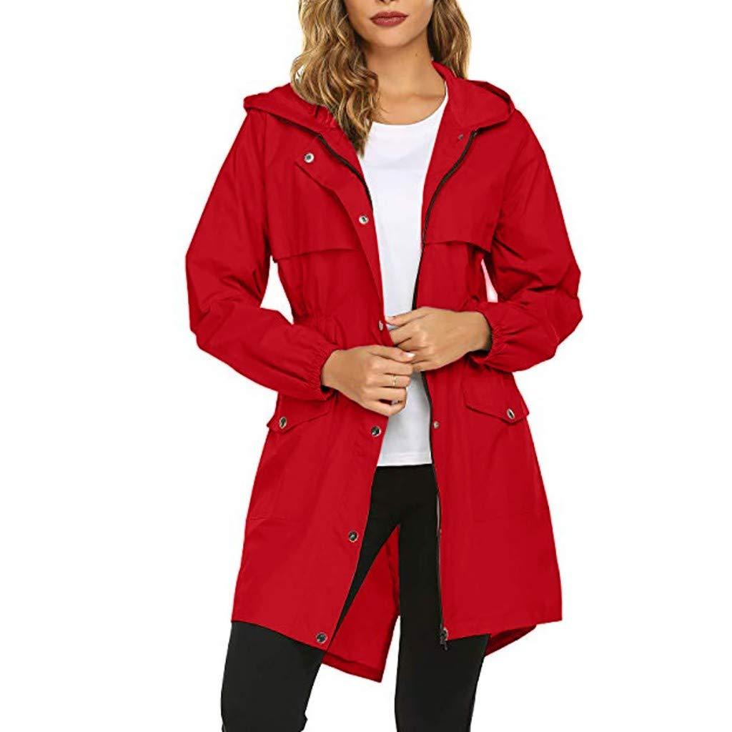 Women's Long Belfast Lightweight Waterproof Windproof Breathable Raincoat Jacket with Hood Red by Dunacifa Women Outwear