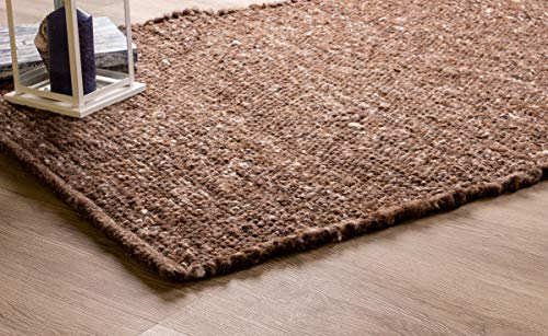 (Super Area Rugs Soft Wool Textured Pebble Berber Mid-Century Modern Rug 4' x 6', Brown)
