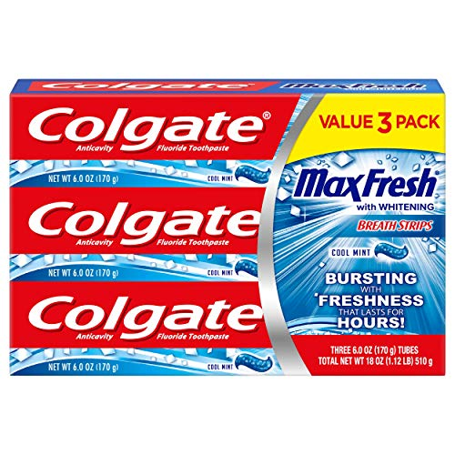 Colgate Max Fresh Toothpaste With Mini Breath Strips, Cool Mint, 6 Ounce, 3 Count