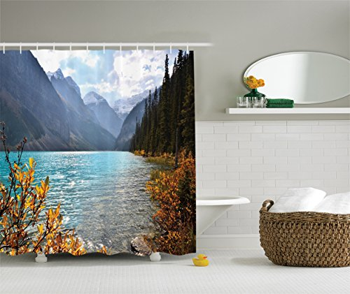 Ambesonne Cottage Decor Collection, Lake Louise Banff National Park Canada with Sharp Mountains Autumn Plants and Tree View, Polyester Fabric Bathroom Shower Curtain, Blue Olive Goldenrod Mountain Cottage