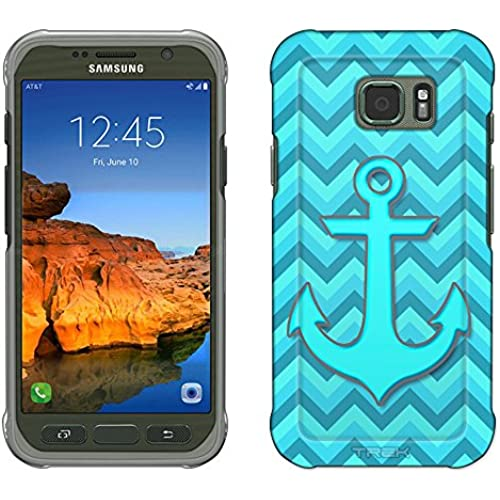 Samsung Galaxy S7 Active Case, Snap On Cover by Trek Anchor on Chevron Turquoise Teal Slim Case Sales