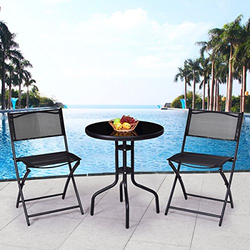 Outdoor Garden Patio Furniture Park Bistro Set 3 Pcs.Table Folding Chairs (Garden Set Uk Bistro Furniture)