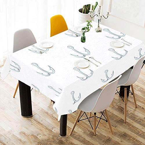 Gednix Fish Hook Fishing Tool Custom Cotton Linen Printed Square Stain Resistant Table Linens Cloth Cover Tablecloth for Kitchen Home Dining Room Tabletop Decor 60x84 Inch