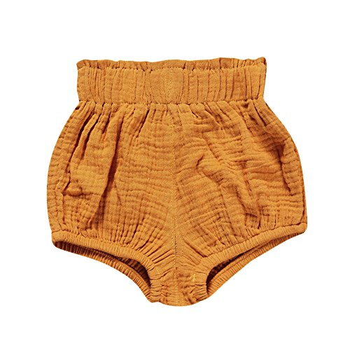 Birdfly Toddler Baby Basic Bloomers Diaper Cover Infant Boys Girls Bottom Shorts Cotton Clothes (6M, Mustard) -
