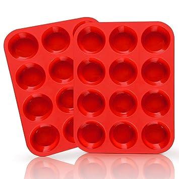 12 taza de Muffin de silicona-reutilizable Cupcake hornear pan/antiadherente molde de silicona