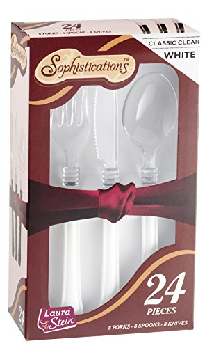 Sophistications 2 Tone Duet Cutlery Combo Box, 24 Count, Whi