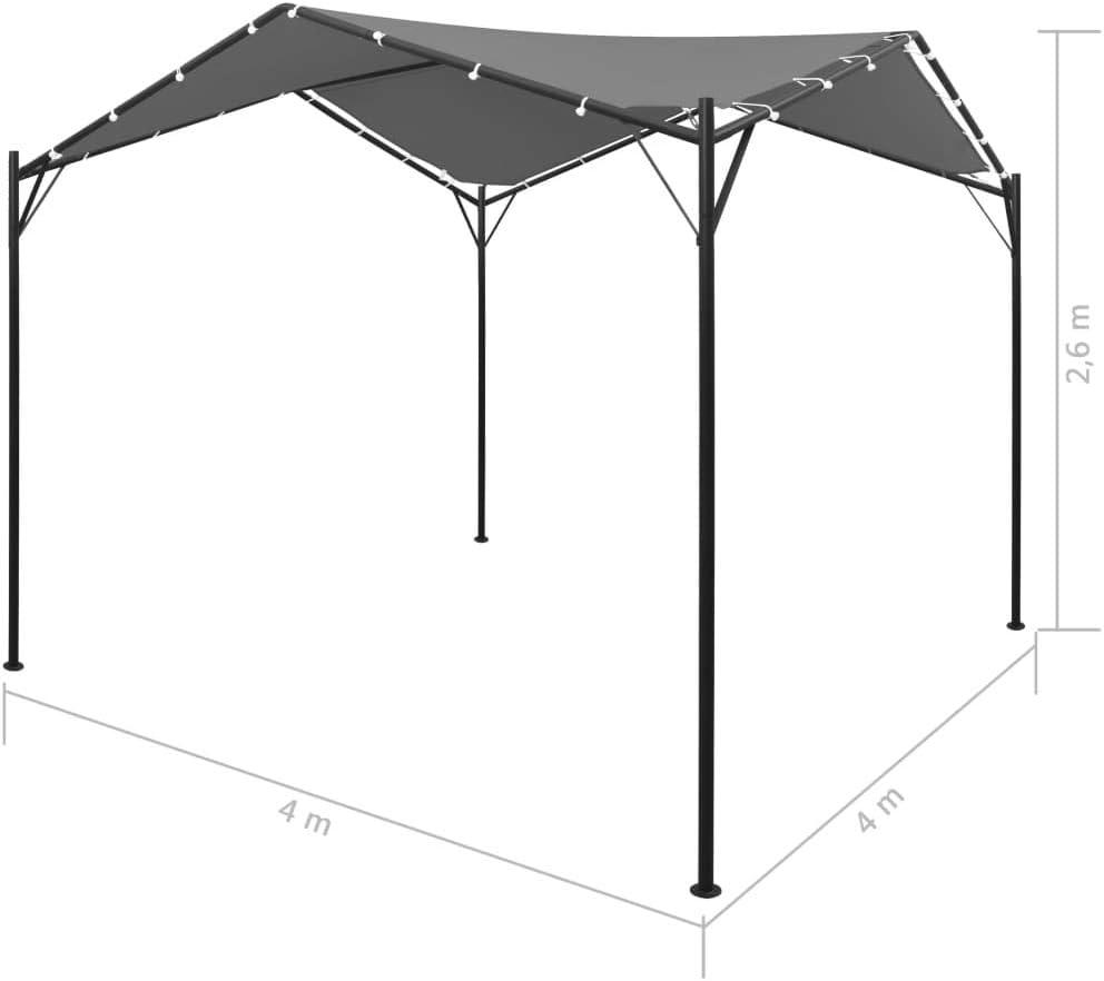 Festnight Cenador de Jardín Pergolas para Jardin Impermeable y Resistente a los Rayos UV, 4x4 m Gris Antracita: Amazon.es: Hogar