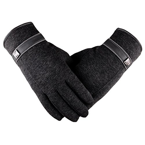 Pulison(TM)Winter Driving Riding Waterproof Windproof Full Finger Motorcycle Climbing Ski Outdoor Sports Mitten Thermal Woolen Soft Warm Anti-slip Snowboard Gloves for Male Men (Gray, 24.5cm)