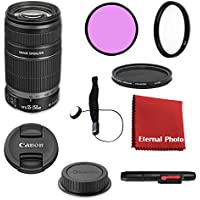 Canon EF-S 55-250mm f/4-5.6 IS II DSLR Lens Bundle With Filters, Lens Cap Keeper and More