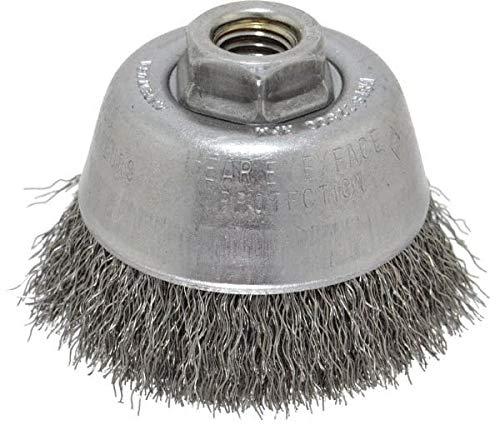 Osborn - 3-1/2'' Diam, 5/8-11 Threaded Arbor, Steel Fill Cup Brush - 0.014 Wire Diam, 7/8'' Trim Length, 14,000 Max RPM (2 Pack)
