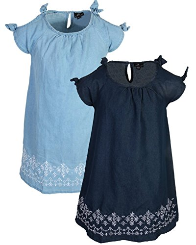 dollhouse Girls Sleeveless Spring/Summer Casual Denim Dress (2 Pack) Border Embroidery, Size ()