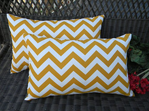 Set of 2 Indoor / Outdoor Decorative Lumbar / Rectangle Pillows - Yellow and White Chevron