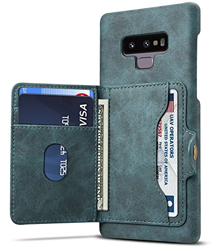 Note 9 Wallet Case, Galaxy Note 9 Phone Case SAVYOU Secure Walet Card Slots Holder Flip Folio Kickstand Cover Protection Blue