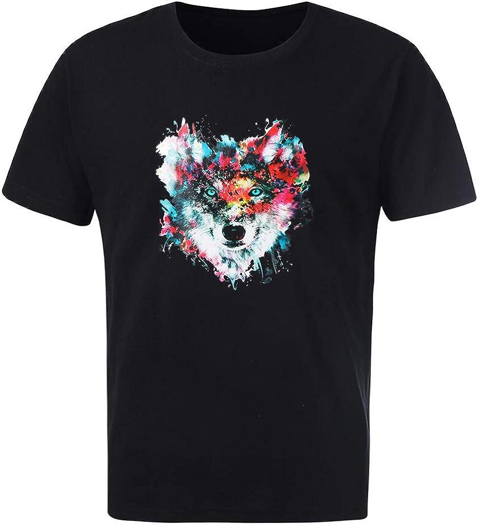Mens Fashion Blouse Casual O-Neck T-Shirt Print Short Sleeve Top Tee