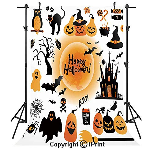 Halloween Decorations Photography Backdrops,All Hallows Day Objects Haunted House Owl and Trick or Treat Candy,Birthday Party Seamless Photo Studio Booth Background Banner 5x7ft,Orange Black -
