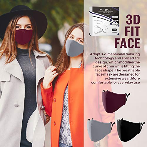 Cloth Face Mask Washable, Reusable Cotton Face Masks Adjustable for Women Adult Men, Unisex Face Coverings - Breathable Comfortable No Fog Colored Mask 3 Pack - Black, Gray, Burgundy