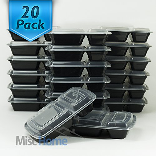 [20 Pack] 32 Oz. 2 Compartment Food Containers Durable BPA Free Plastic Reusable Food Storage Container Microwave & Dishwasher Safe w/Airtight Lid For Portion Control & 21 Day Fix by Misc Home (Image #4)'