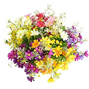 Luccaful One Bouquet 7 Branch 28 Heads Cute Silk Daisy Artificial Decorative Flower Wedding Flower Bouquet Home Room Table Decoration 14