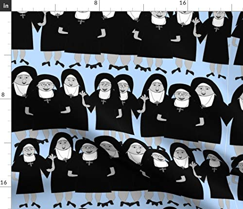 Spoonflower Catholic Nuns Fabric - Nuns Nuns in Habits Religious Nuns Catholic Sisters Whimsical Nuns Quirky Nuns by Hot4tees Bg Yahoo Com Printed on Petal Signature Cotton Fabric by The -