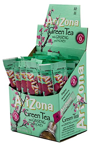 - AriZona Green Tea with Ginseng Iced Tea Stix Sugar Free, 30 Count Box (Pack of 1), Low Calorie Single Serving Drink Powder Packets, Just Add Water for a Deliciously Refreshing Iced Tea Beverage